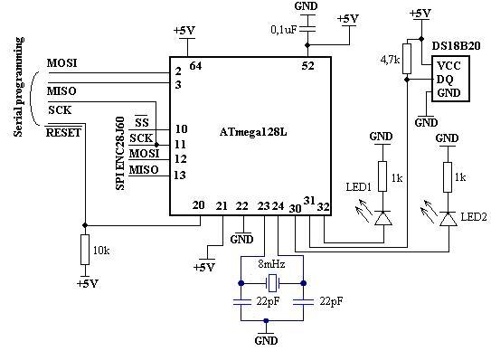 Схема подключения ATmega128L
