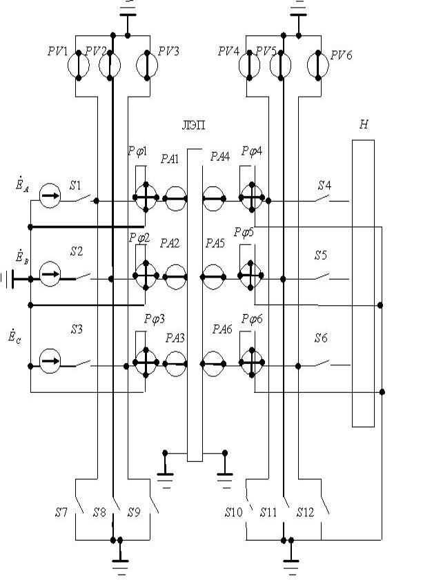 восьмиполюсника, замещающего все однородные участки трехпроводной ЛЭП.