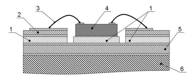 Пример монтажа СВЧ микросхемы