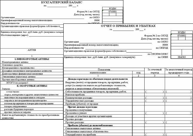 Бухгалтерская отчетность форма 1 и 2 заполненная